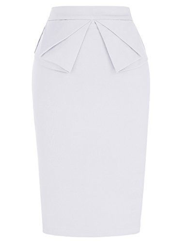 PrettyWorld Vintage Dress Solid Slim Stretchy Pencil Skirt for Women Knee Length White (M) KL-7 CL454 by PrettyWorld Vintage Dress