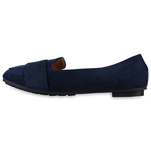 Stiefelparadies Damen Slippers Metallic Loafers Ketten Slip Ons Freizeit Schuhe Flandell Dunkelblau