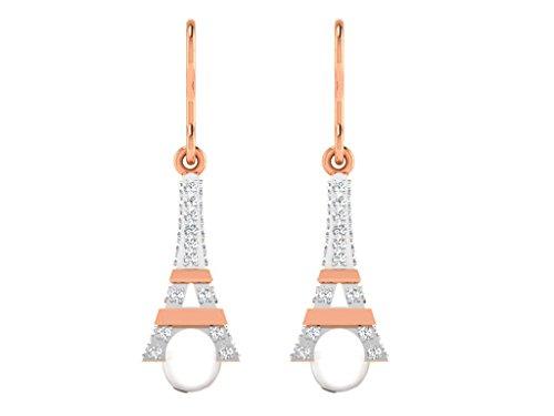 Libertini Boucle d'oreille argent 925 plaque or Rose serti de Diamant et Ampoule Blanc