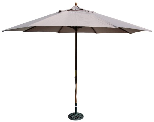 TropiShade 11-Foot  Wood and Poly Market Umbrella, Taupe - 11-Foot Market Umbrella with taupe polyester cover 8-ribs and 1.5-inch center pole.  Includes single wind vent for stability. Large hub and runner - shades-parasols, patio-furniture, patio - 31zDTr 3G%2BL -