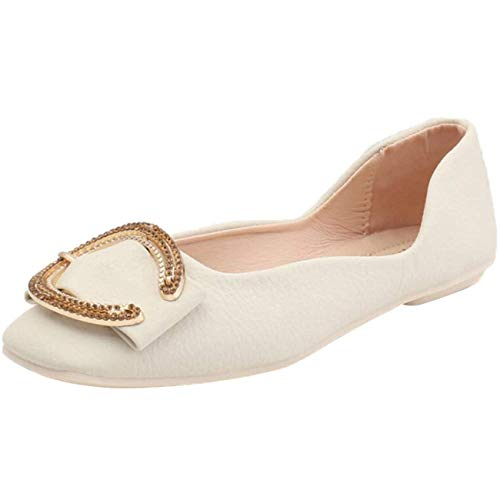 Shoe Quadrata 6 In Ballerine Uk Beige Da colore on Donna Piatte Beige Metallo Moontang Punta Con Slip Flat Dimensione C5qxawAvn4