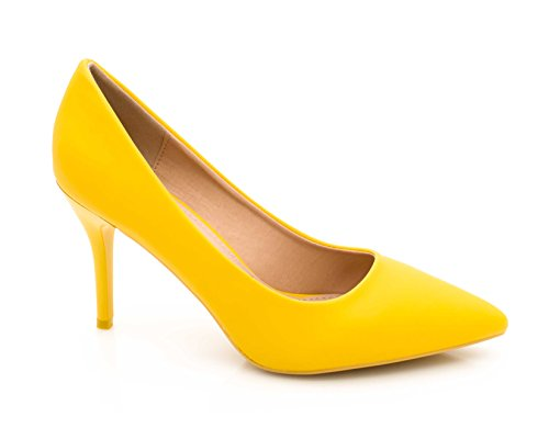 Mode Shoes et et Escarpin Couleur Mariage Talon Chic à uni Talon Femme Escarpin Femme Jaune pour 9cm Chaussures Très Cérémonie Escarpin la Fashion Fin Haut gORdxYd
