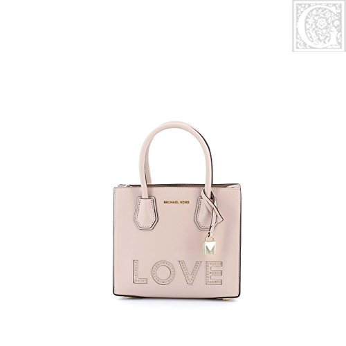 Mercer Leather Medium Love Detailed Messenger Handbag in Soft Pink ()