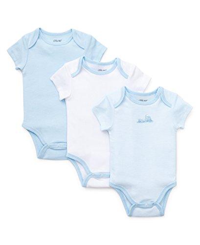 Little Me Baby-Boys Newborn Train 3 Pack Bodysuit, Blue/Multi, Newborn