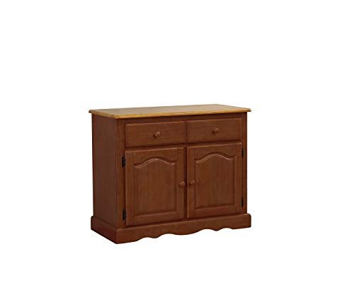 Sunset Trading DLU-19-BUF-NLO Oak Selections Buffet, Medium Walnut Cabinet with a Light Finish top (Sideboard Buffet Sale For)