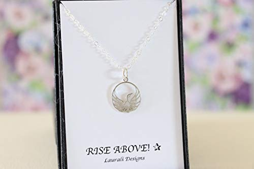 (Small Phoenix Rising Sterling Silver Charm Necklace)