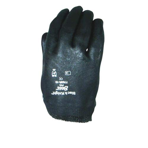 Best Glove 7703R-10 Black Knight Gloves, PVC, Knit Wrist, Large, Black (Pack of 72)