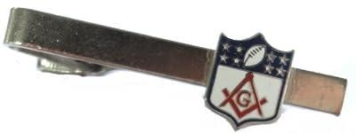 Masonic NFL Football Shield Logo Square & Compass Tie Bar Clip