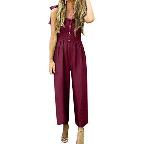 - Aniywn Womens Casual Summer Solid Sleeveless Lace Up Buttons Off Shoulder Wide Leg Jumpsuit Playsuit Wine