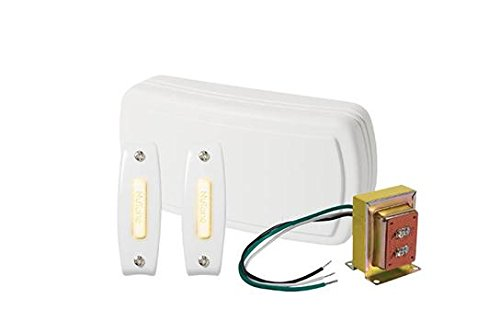 Broan BK125LWH NuTone Chime Kit (2 Lighted Push-Buttons, 1 Transformer) (Chime Kit Two Lighted Button)