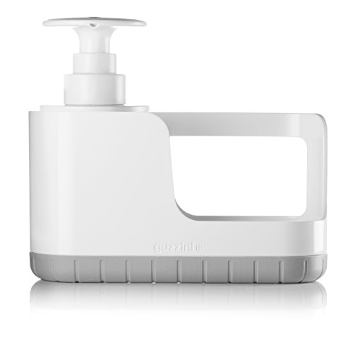 - Guzzini My Kitchen Sink Tidy Caddy with Soap Dispenser, 7-1/2-Inches, Matte Grey