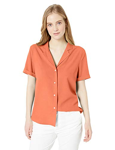 28 Palms Women's Loose-Fit 100% Silk Solid Blouse Shirt, Coral, XX-Large