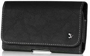 Quaroth Samsung BlackJack II Black Flat Leather Horizontal Case Pouch With Stitched Flap Hidden Magnetic Closure Built...