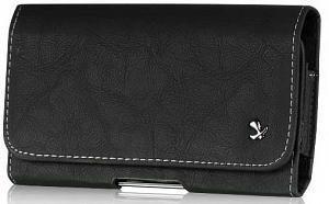 Cerhinu LG Optimus L9 Genuine Bold Leather Case Pouch Metal Clip With Belt Loop Hidden Magnetic Closure Black (Lg L9 Case With Clip)