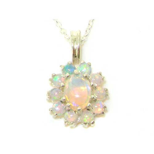Ladies Solid 925 Sterling Silver Ornate Natural Opal Oval Pendant Necklace (Genuine Oval Opal Pendant)