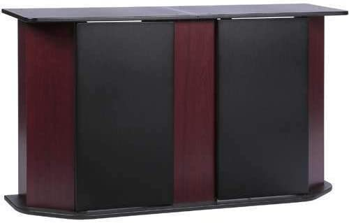 Precioso Cherry Black Deluxe Aquarium Stand with Reversible Bottom Panels Concealed Storage Cabinet for Cleaning Supplies Fish Food Other Essentials Accommodates Up to 55-Gallon Fish Tank Holder