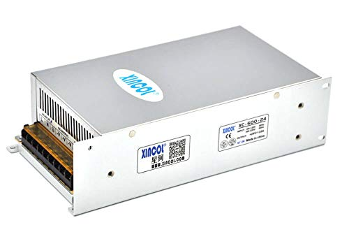 XINCOL AC to DC Converter AC110V/220V to DC24V 25A 600W Switching Power Supply Transformer Regulated for LED Strip Light,CCTV,Camera,Computer Project etc (Best 600w Power Supply)