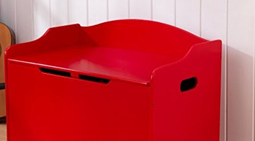 Toy Box, Functional, Red, Safety Hinge on Lid Protects Young Fingers from Getting Pinched, Made of Wood, Doubles as a Bench for Additional Seating, Easy to Put Together, BONUS FREE E-book