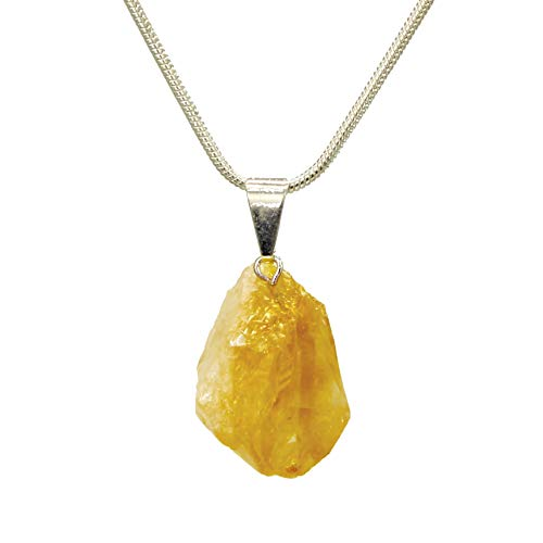Earth Energy Minerals ~ Buy Any 2 Get 1 Free ~ Genuine Premium Quality Healing Gemstone Pendant Necklace - Amethyst, Black Tourmaline, Citrine & Clear Quartz (Citrine)
