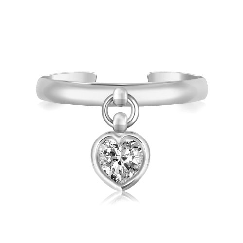 BunnyBerry Gifts Sterling Silver Rhodium Finished Heart Cubic Zirconia Charm Toe ()