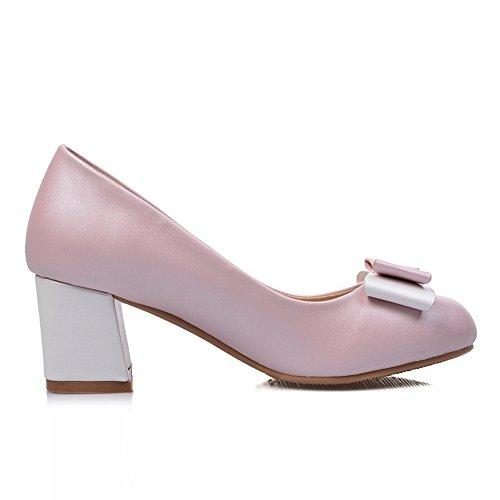 BalaMasa Girls Kitten-Heels Pull-On Metal Bowknot Round-Toe Plastic Pumps-Shoes Pink 2grjm