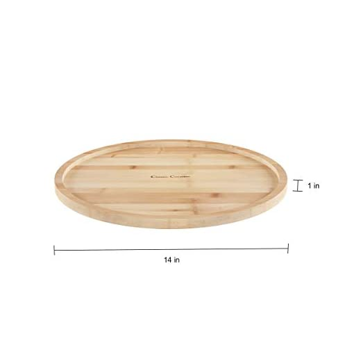 Kitchen Classic Cuisine Lazy Susan – All-Natural Bamboo Round Single Tier Turntable Kitchen, Pantry and Vanity Organizer and… lazy susans
