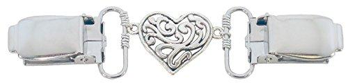 Silver Fancy Heart Cardigan Clip (Heart Clip)