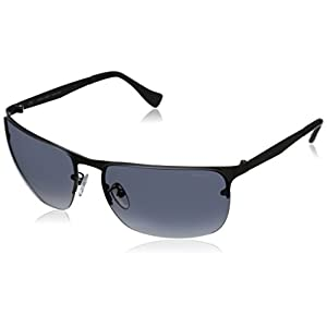 Police Men's S8957M 62627B Rectangular Sunglasses, Matte Gun Metal & Blue Mirror, 62 mm