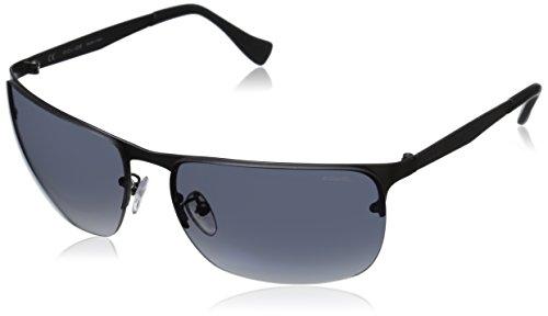 Police Men's S8957M 62627B Rectangular Sunglasses, Matte Gun Metal & Blue Mirror, 62 - Shades Police