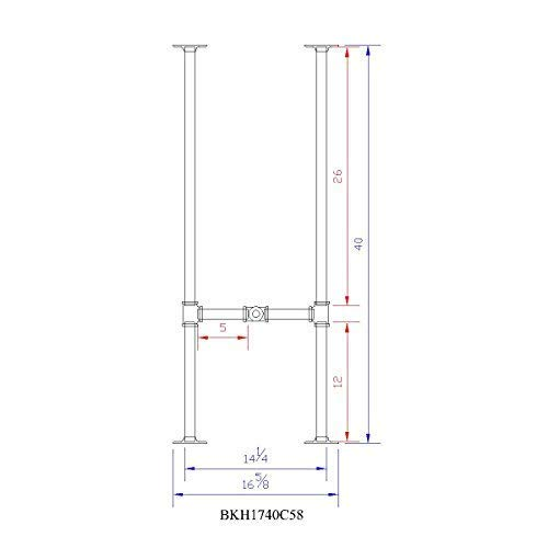 H40'', Rusty Design, BKH1740C58 Pipe Legs KIT with Cross Bar for Bar Height Pub Table, H-Shape, L58'' x W17'' x H40'', Pack Suitable for 1 Table