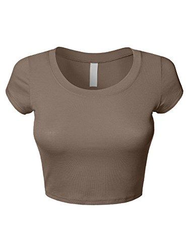 - Luna Flower Women's Scoop Neck Crop Top Tshirt - Basic Slim Fit Short Sleeve Mocha Medium (GTEW150)