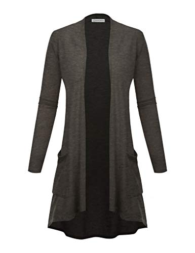 (BIADANI Women's New TR Fabric Open Front Cardigan with Pockets Charcoal Small)