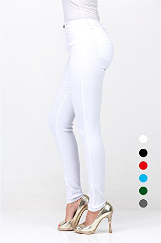 L.B FASHION High Rise-Waisted Juniors Ladies Colored Super Stretchy Skinny Butt Lift Jeans Elastic Pencil Pants [Push up] 3 Buttons for Women (White, (Stretch High Rise)