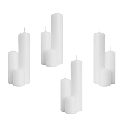 Royal Imports 4 Sets of 2 Pillar Candles (12 Candles) for Wedding, Birthday, Holiday & Home Decoration, 2x3, 2x6, 2x9, White Wax