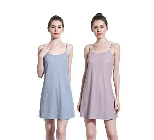 UVAN ART Women's Sleep Chemise Strap Junior Cami Slip for Under Mini Tank Dress Full Slip (Light Blue/Sweet Lilac, L (US 10P-12P))