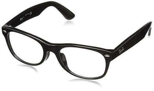 Ray-Ban RX5184F New Wayfarer Asian Fit Eyeglass Frames, Shiny Black/Demo Lens, 52 ()