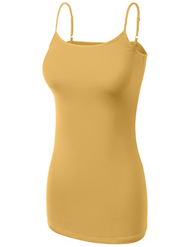 HATOPANTS Basic Cotton Adjustable Spaghetti Straps Cami T Shirts Mustard - Square Times Macy's