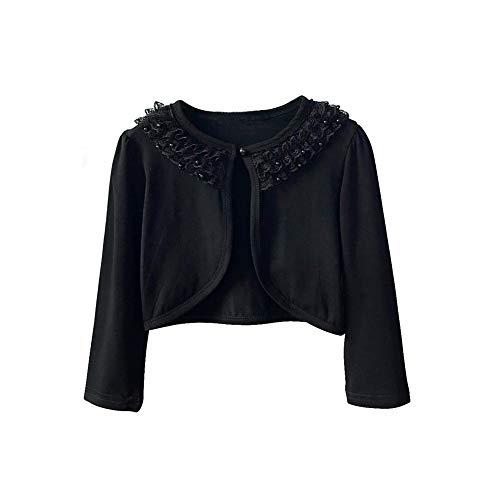 Girl Lace Bolero Cardigan Shrug - Little Girl Long Sleeve Lace Flower Shrug Sweater 2-3T Black