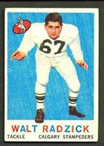1959 Topps CFL (Football) Card# 22 Walt Radzick of the Calgary Stampeders Good Condition