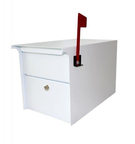 (Mail Protector Vault DVCS0070 Locking Post-Mount Mailbox (White))