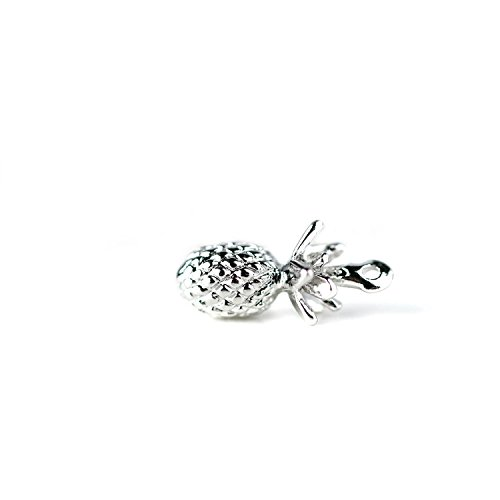 16K Silver Plated Pineapple Pendant Dainty Pineapple Charm DIY Pineapple Necklace Supply - 1PPA (Silver) ()
