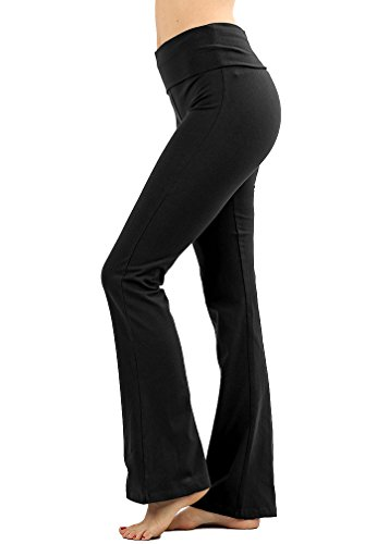 JNTOP Premium Cotton Fold Over Yoga Flare Pants Black Medium