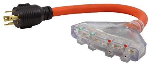 AC WORKS L14-30 30Amp 4-Prong Locking Generator Distribution Cord (1.5FT L14-30 to Four 15/20A Household)