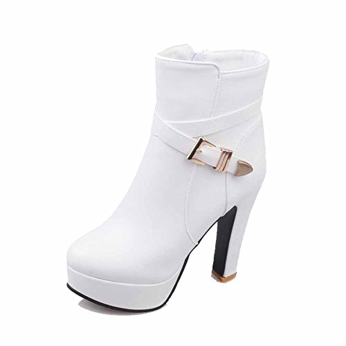Round with Heels Solid Women's Closed AgooLar White Boots Metal Low Top Toe High OSxZK5qwg