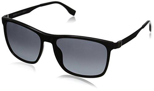 BOSS by Hugo Boss Men's B0671S Rectangular Sunglasses, Black Dark Ruthenium & Gray Gradient, 57 - Ruthenium Dark