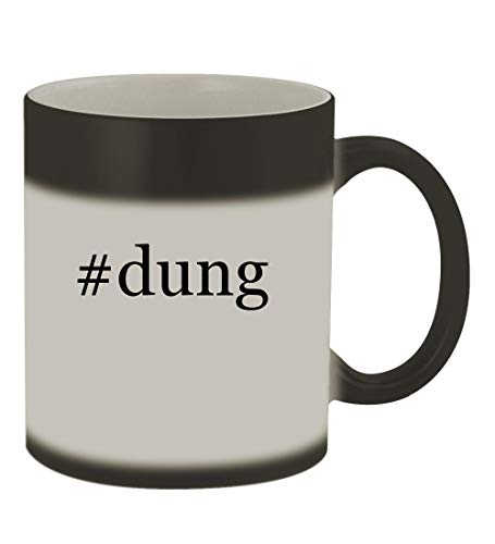 #dung - 11oz Color Changing Hashtag Sturdy Ceramic Coffee Cup Mug, Matte Black