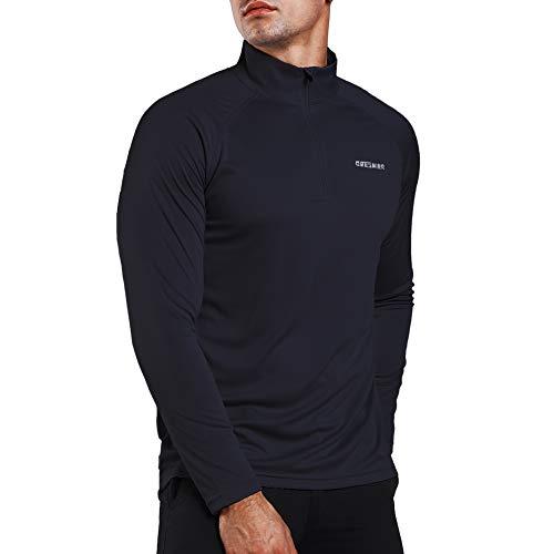 Ogeenier Men's 1/4 Zip Pullover UPF 50+ UV Sun Protection Long Sleeve Shirts Outdoor Running Athletic Shirts ()