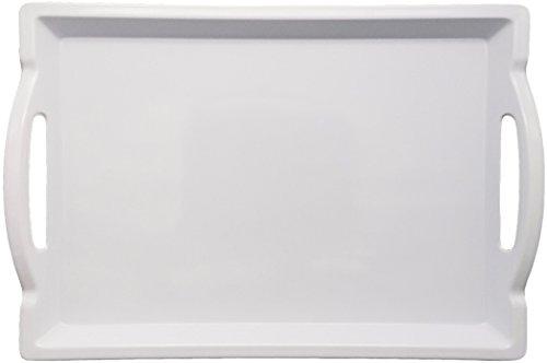 White Large Square Platter - Large White Rectangular Melamine Plastic Serving Tray for Food - Breakfast Tray - 18 inches x 12.25 inches x 1.63 inches - White - by Clean Cut