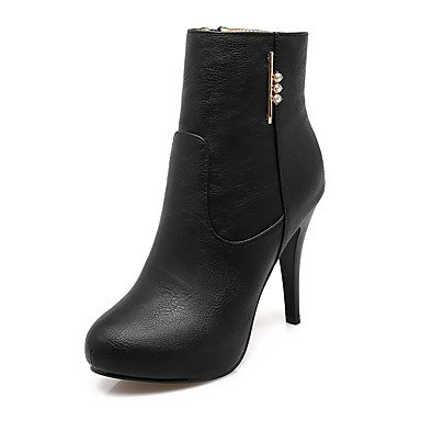 Women's Shoes Leatherette Winter Fashion Boots Bootie Boots Stiletto Heel Round Toe Booties/Ankle Boots Sparkling Glitter Zipper For White
