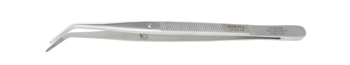 Excelta 24-SA-SE Tweezer, Angle Broad, 6' Overall Length, Stainless/Anti-Magnetic Serrated 6 Overall Length